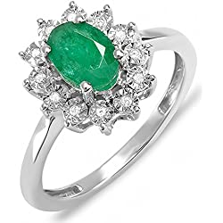 Kate Middleton Diana Replica 10K White Gold Diamond & Green Emerald Royal Bridal Ring