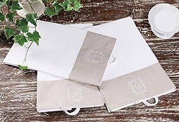 Lino y algodón toalla de mano w/letras del alfabeto bordado crema caqui 18 letras disponibles país casa D: Amazon.es: Hogar
