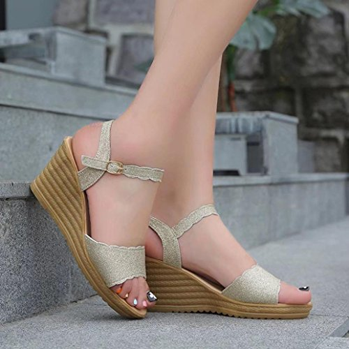 Platform High Sequins Teenage Non Girls Toe Summer Sandals Slip TM Women Heels Round Colorful Buckle Sandals Gold 64zgnx