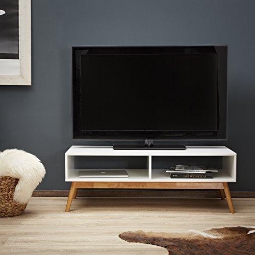 Lowboard/mobile TV LOMOS® No.12, in legno di colore bianco con due ...