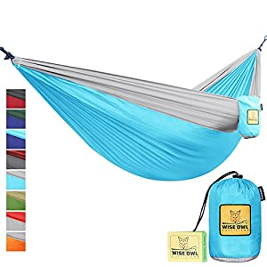 Hammock for Camping Single & Double Hammocks - Top Rated Best Quality Gear For The Outdoors Backpacking Survival or Travel - Portable Lightweight Parachute Nylon DO Blue & Grey