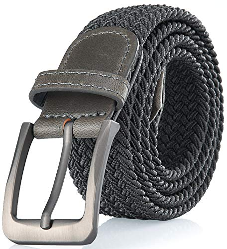 (Gallery Seven Woven Elastic Braided Belt For Men - Fabric Stretch Casual Belt - Gray - Large)