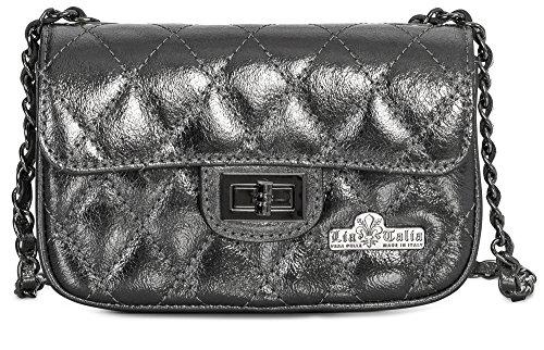 LIATALIA Womens Ladies Quilted Genuine Italian Leather Evening Clutch Party Bag Purse - CAROL [Small - Metallic - Silver Grey]