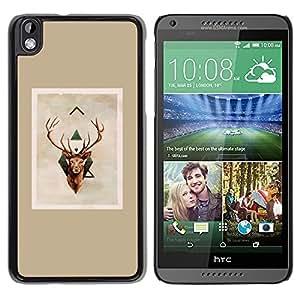 Astas de los ciervos de Navidad Marrón Beige- Metal de aluminio y de plástico duro Caja del teléfono - Negro - HTC DESIRE 816