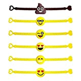 25 Assorted Emoji Wristband Bracelets - Birthday Party Favor Toys