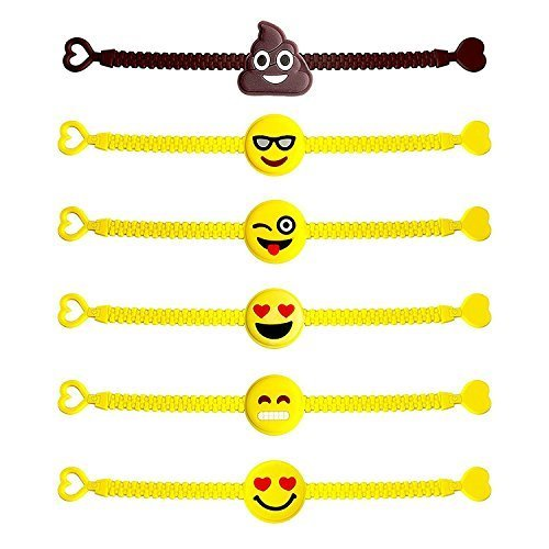 25 Assorted Emoji Wristband Bracelets - Birthday Party Favor Toys by Assortmart