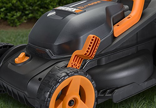 """WORX WG779 40V Power Share 4.0 Ah 14"""" Lawn Mower w/ Mulching & Intellicut (2x20V Batteries) 9 Dual 20V Power Share batteries deliver 40V of Maximum Power and Performance Patented intellicut technology delivers Power on demand save Your battery for when you Really need it Foam padded handles provides a comfortable grip for reduced fatigue while cutting"""