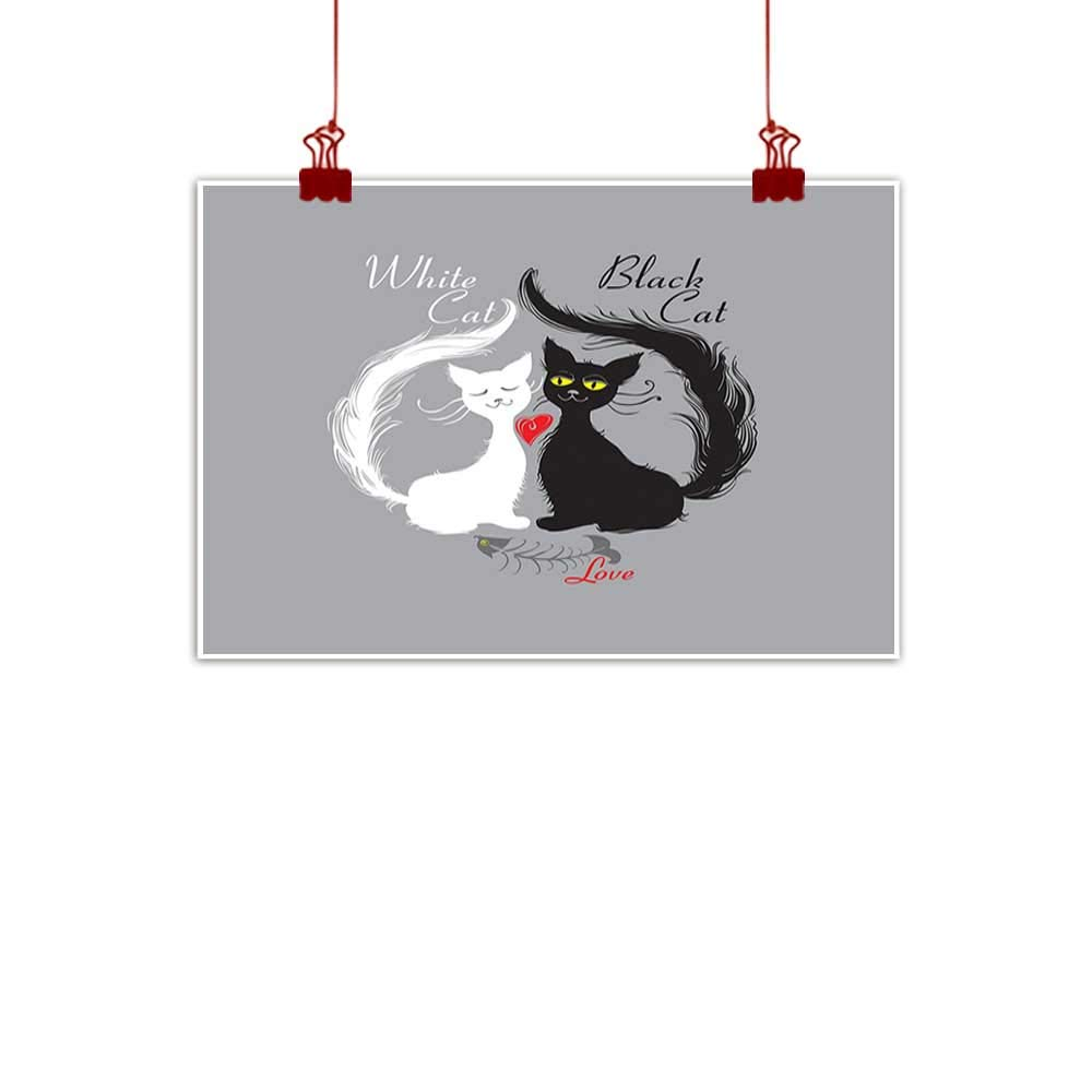 color11 32 x24  (80cm x 60cm) Mangooly Outdoor Nature Inspiration Poster Wilderness Cat,Cat Silhouette and Animal Tracks Pattern Paws Footprints Kitties Different Poses,Black and White for Bedroom Office Homes Decorations