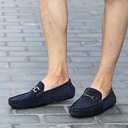 Go Tour Classic Moc Toe Buckle Casual Mocasines De Cuero De Gamuza Zapatos De Conducción A-azul Oscuro
