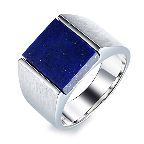 Men's Natural Afghanistan Apis Lazuli Gemstone Solid 925 Silver White Gold Plated Engagement Wedding Promise Fashion Band Ring Set by Kardy