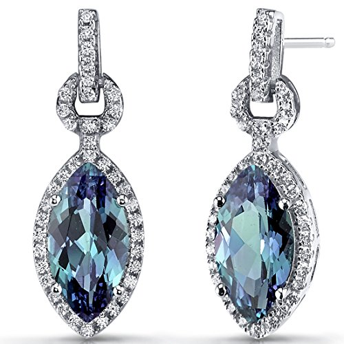 - Simulated Alexandrite Marquise Dangle Drop Earrings Sterling Silver 4.5 Carats