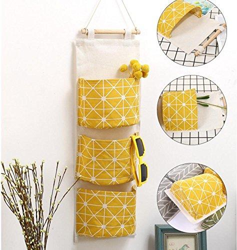 Grandey Creative Linen Cotton Waterproof Geometic Three Storage Pockets Wall Hanging Storage Bags Home Decor Wall Housekeeping (Yellow)