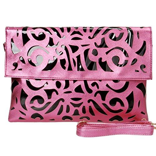 Price comparison product image BMC Black Vinyl + Fuchsia Pink Faux Leather Decorative Cut Out Print Design Large Fashion Statement Envelope Clutch
