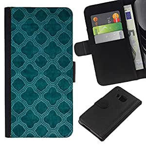 All Phone Most Case / Oferta Especial Cáscara Funda de cuero Monedero Cubierta de proteccion Caso / Wallet Case for HTC One M9 // Teal Church Christian Pattern Indian