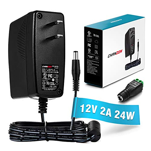 [UL Listed] Chanzon 12V 2A 24W AC DC Switching Power Supply Adapter (Input 100-240V, Output 12 Volt 2 Amp) Wall Wart Transformer Charger for DC12V CCTV Camera LED Strip Light (6Ft Cord, 24 Watt Max) (12v 24v Power Supply)