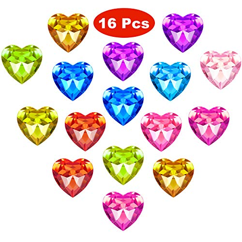 16 Pieces Acrylic Gems Toy Gems Big Size Acrylic Heart Gem Embellishments Pirate Treasure Toy Goodie Bag Fillers Party Favor Birthday/Christmas/Easter Prizes, 10 Colors