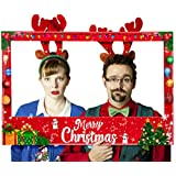 Christmas Photo Booth Prop Frame - Xmas/Winter/Holiday Party Supplies Decorations (Assembly Needed)