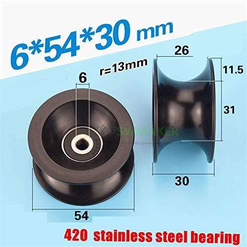 Ochoos 65430mm 25mm Diameter Track, Groove U Roller, Plastic 636 Stainless Steel Bearing, Pulley Plastic Guide Wheel
