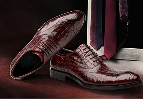 Oxfords Formale Rosso Stile da Lavoro Scarpe Uomo Uomo in Classico Primavera Comfort da Autunno Scarpe da ZqXzqR0O