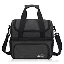 Hynes Eagle Special for 2 Adults Large Picnic Cooler Insulated Lunch Bags with Tableware & Cutlery Black