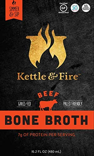 Kettle and Fire Beef Bone Broth: 1 Pack of Grass Fed Collagen and Gelatin Rich Broths, Paleo and Keto Diet Friendly