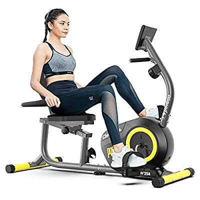 pooboo Recumbent Exercise Bike Indoor Cycling Bike Magnetic Stationary Bike with Pulse Monitor, Adjustable Seat and Ipad Holder