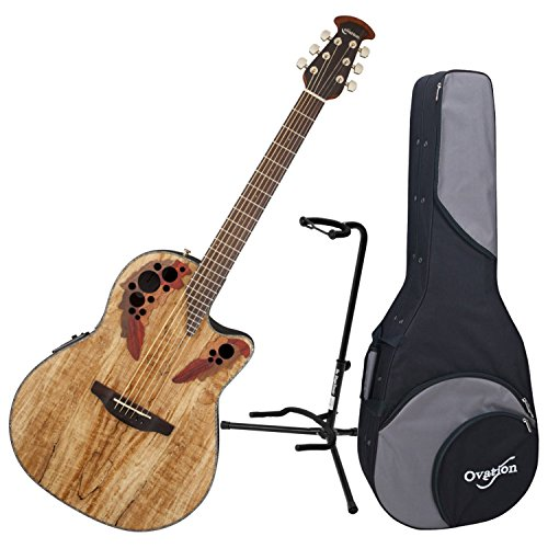 Spalted Maple Natural - Ovation CE44P-SM Acoustic-Electric Guitar, Spalted Maple with Case and Stand