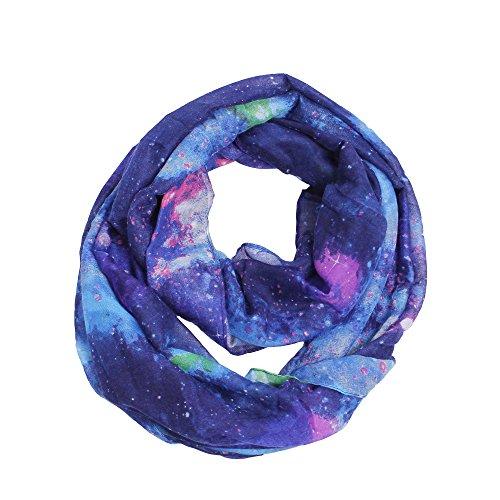Loop Scarf Accessory (Nebula Galaxy Interstellar Print Blue Color Women Infinity Loop Scarf (blue collar))