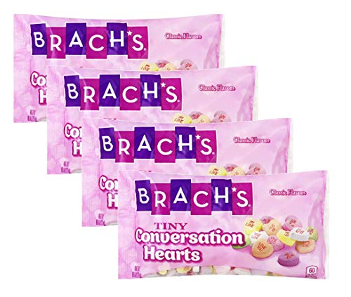 Brachs Tiny Conversation Hearts Valentines Candy - Pack of 4 Bags - 8 Oz Per Bag - Wintergreen, Banana, Orange, Lemon, Cherry & Grape (4 Bags, 32 Oz Total) (Tiny)