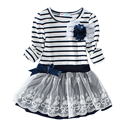- Mud Kingdom Girls Dresses with Sleeves Stripe Flower Lace Size 7 Navy
