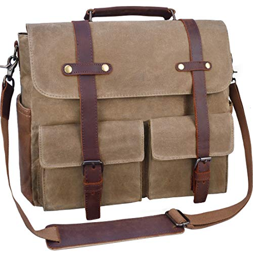 Laptop Messenger Bag for Men 15.6 Inch Waterproof Vintage Waxed Canvas Briefcase Genuine Leather Satchel Shoulder Bag Large Retro Computer Laptop Bag,Khaki