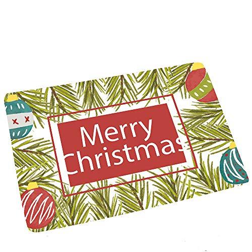 Vacally Christmas Decor Flannel Non Slip Rugs Door Floor Bath Absorbent Mats Hall Rugs Kitchen Bathroom Living Room Home...