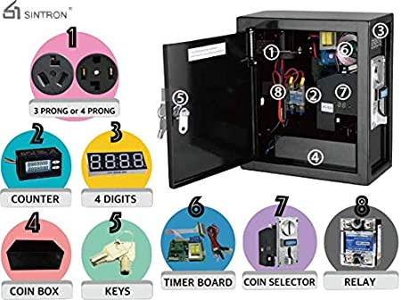 Sintron ST-003 Coin Operated Timer Control Box with 4 Prong 220V for US//Canada Dryer Power Plug