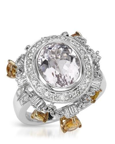 18K Two Tone Yellow Gold Kunzite & Round Diamond Ring