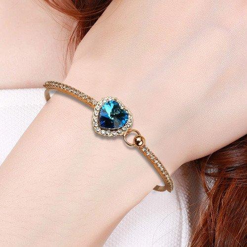 EleQueen Women's Crystal Titanic Inspired Love Heart of Ocean Bangle Bracelet Sapphire Color Gold-tone