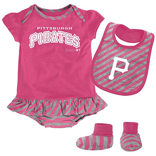 Girl Pink Onesie Bib Booties (MLB  Pittsburgh Pirates Infant Girls Pink Bib & Booty-18 Months)