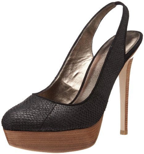 Pelle Moda Women's Hip Platform Pump,Black Snake,10 M US