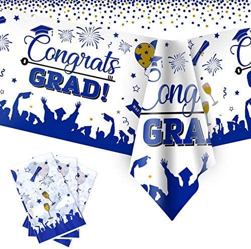 "Graduation Tablecloths, 3 Pack Large Size Plastic 54""x108"" Congrats Grad Graduation Party Tablecover Decorations for Class of 2021"