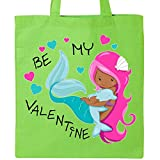 Inktastic - Be My Valentine-Mermaid with dolphin Tote Bag Lime Green 2e44a