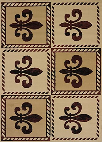 United Weavers of America Patchwork Fleur de Lys Area Rug, Linen, 7'10