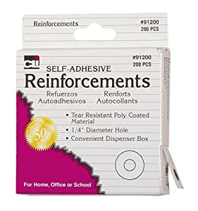 """Charles Leonard Reinforcements - Hole - Self Adhesive White Poly - 1/4"""" Holes In Dispenser Box - 200/Box, 91200"""