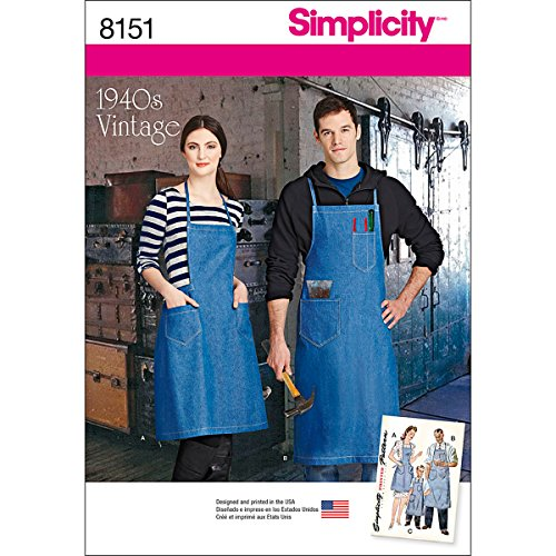 Simplicity Creative Patterns Simplicity Pattern 8151 Vintage Aprons for Boys, Girls, Misses and Men, Size: A ()