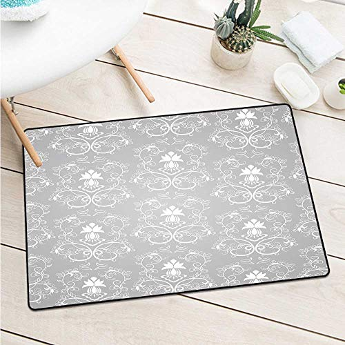 (Custom&blanket Damask Universal Door Mat Damask Style Antique Floral Motifs Pattern Royal Victorian Design Vintage Leaves Machine Washable Door Mat (W19.7 X L31.5 inch,Gray and White))