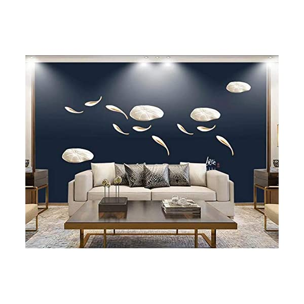 LIWALLPAPER-Carta-Da-Parati-3D-Fotomurali-Foglia-Di-Loto-Di-Pesce-Cinese-Blu-Camera-da-Letto-Decorazione-da-Muro-XXL-Poster-Design-Carta-per-pareti-200cmx140cm