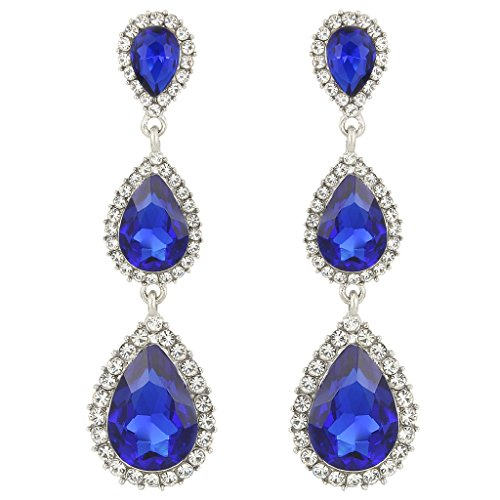 EleQueen Women's Silver-tone Austrian Crystal Tear Drop Pear Shape Long Earrings Sapphire Color