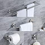 small bathroom makeovers  4-Piece Bathroom Accessories Set Brushed Stainless Steel Wall Mount - Includes Double Towel Bar, Hand Towel Rack, Toilet Paper Holder, Robe Hooks, BS100S4-BN