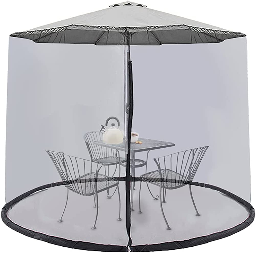 Warmally 9ft Umbrella Mosquito Netting Screen Cover with Zipper Polyester Mesh for Patio Garden Outdoor Camping Adjustable Table Umbrella