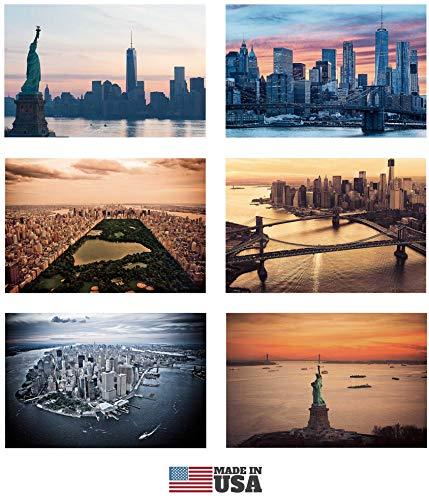 New York Postcards Set of 30 Styles. Collectible Edition of New York Souvenirs Post Cards 4 x 6 of NY Landmarks, Skylines and Aerial Views. Made in USA