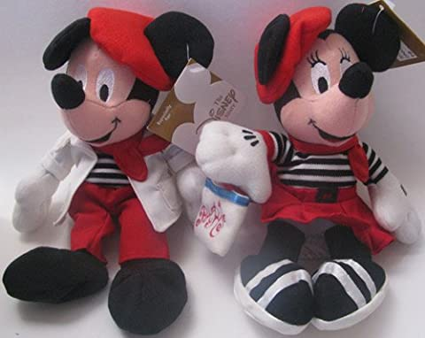 Disney Bean Bag Plush Mickey Mouse and Minnie Mouse Globe Trotting France French - Bean Bag Plush Minnie Mouse