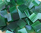 """1/2"""" Green Stained Glass Mosaic Tiles"""